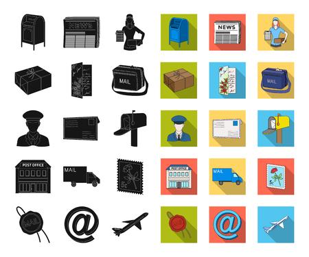 Mail and postman black,télévision icônes dans la collection de jeu pour la conception. Courrier et équipement vecteur symbole stock illustration web.