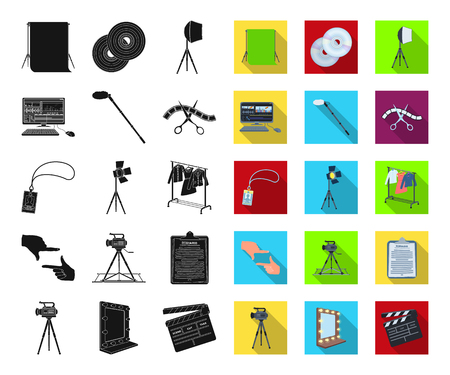 Making a movie black,flat icons in set collection for design. Attributes and Equipment vector symbol stock web illustration. Ilustracje wektorowe