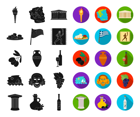 Country Greece black,flat icons in set collection for design.Greece and landmark vector symbol stock web illustration. Ilustrace