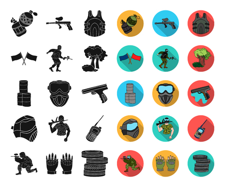 Paintball, team game black,flat icons in set collection for design. Equipment and outfit vector symbol stock web illustration.