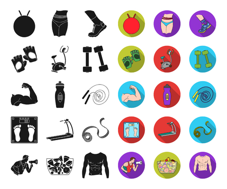 Fitness and attributes black,flat icons in set collection for design. Fitness equipment vector symbol stock web illustration. Ilustracja
