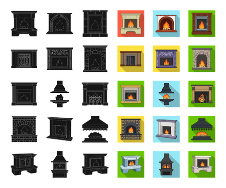 Different kinds of fireplaces black,flat icons in set collection for design.Fireplaces construction vector symbol stock web illustration.