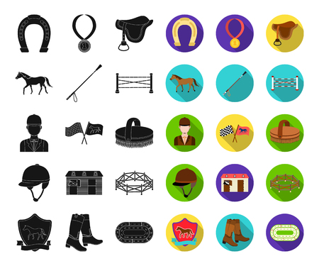 Hippodrome and horse black,flat icons in set collection for design. Horse Racing and Equipment vector symbol stock web illustration.