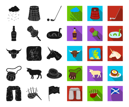 Country Scotland black,flat icons in set collection for design. Sightseeing, culture and tradition vector symbol stock web illustration. Illustration