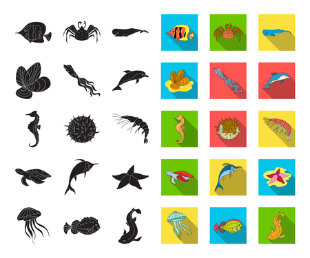 A variety of marine animals black,flat icons in set collection for design. Fish and shellfish vector symbol stock web illustration. Illustration