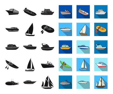 Water and sea transport black,flat icons in set collection for design. A variety of boats and ships vector symbol stock web illustration.