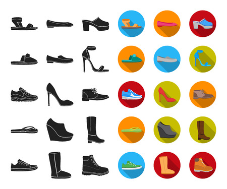 A variety of shoes black,flat icons in set collection for design. Boot, sneakers vector symbol stock web illustration. Illustration