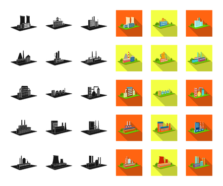 Factory and plant black,flat icons in set collection for design. Production and enterprise vector isometric symbol stock web illustration.
