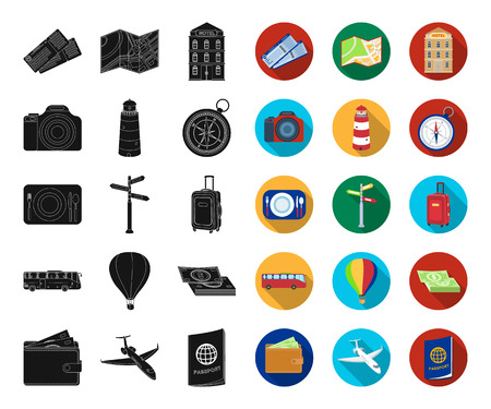 Rest and travel black,flat icons in set collection for design. Transport, tourism vector symbol stock web illustration.
