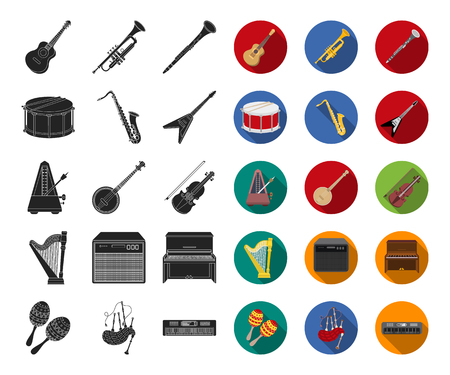 Musical instrument black,flat icons in set collection for design. String and Wind instrument vector symbol stock web illustration.