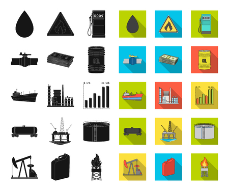 Oil industry black,flat icons in set collection for design. Equipment and oil production vector symbol stock web illustration.
