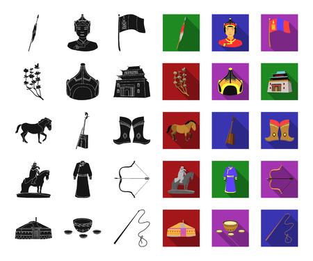 Land Mongolei schwarze, flache Ikonen in der Setsammlung für Design. Territorium und Wahrzeichen Vektorsymbolvorrat-Netzillustration
