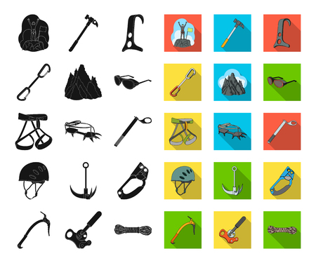 Mountaineering and climbing black,flat icons in set collection for design. Equipment and accessories vector symbol stock web illustration. Reklamní fotografie - 115581496