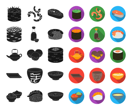 Sushi and seasoning black,flat icons in set collection for design. Seafood food, accessory vector symbol stock web illustration.