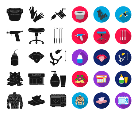 Tattoo, drawing on the body black,flat icons in set collection for design. Tattoo salon and equipment vector symbol stock web illustration. Vectores