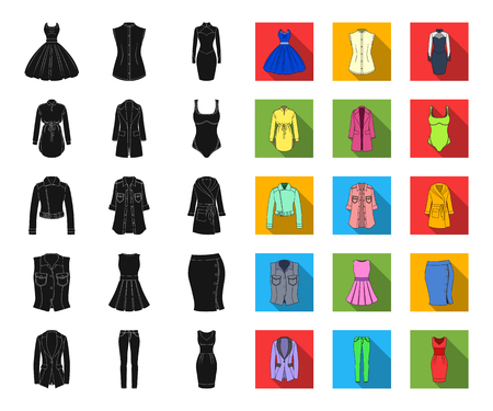 Womens Clothing black,flat icons in set collection for design.Clothing Varieties and Accessories vector symbol stock web illustration.