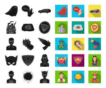 A fantastic superhero black,flat icons in set collection for design. Superheros equipment vector symbol stock web illustration. Illustration
