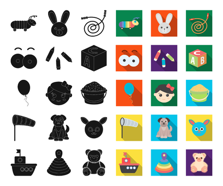 Childrens toy black,flat icons in set collection for design. Game and bauble vector symbol stock web illustration.