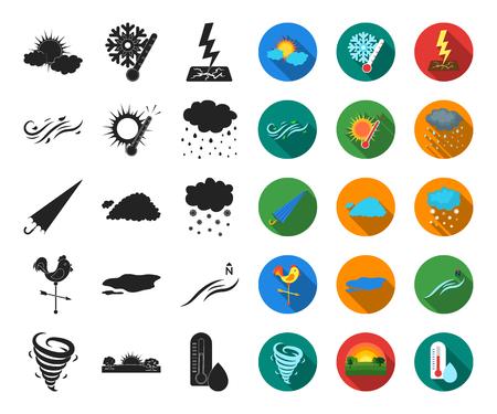Clima diferente negro, iconos planos de colección set de diseño.Signos y características de la ilustración web de stock de símbolo de vector de clima.