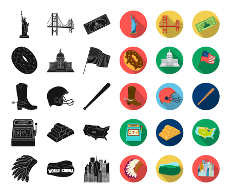 USA country black,flat icons in set collection for design.Travel and attractions vector symbol stock web illustration. Vectores