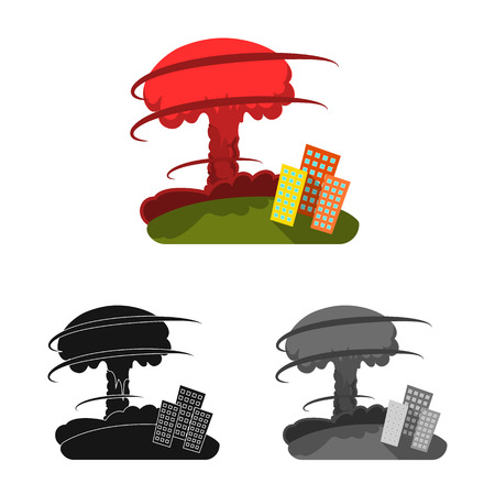 Vector illustration of weather and distress icon. Set of weather and crash stock symbol for web.