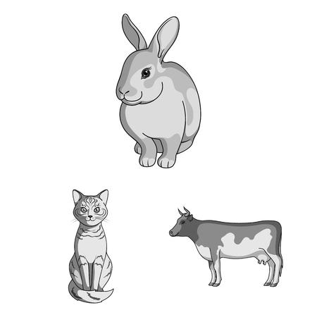 Illustrazione vettoriale del logo degli animali e dell'habitat. Collezione di icone vettoriali animali e fattoria per stock. Logo