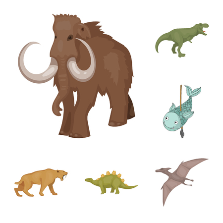 Isolated object of animal and character icon. Collection of animal and ancient  stock symbol for web.