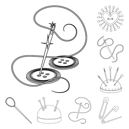 Isolated object of pin and sewing icon. Collection of pin and sketch stock vector illustration.