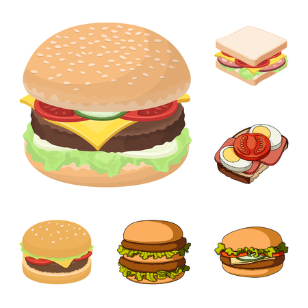 Vector design of sandwich and wrap icon. Collection of sandwich and lunch stock vector illustration.