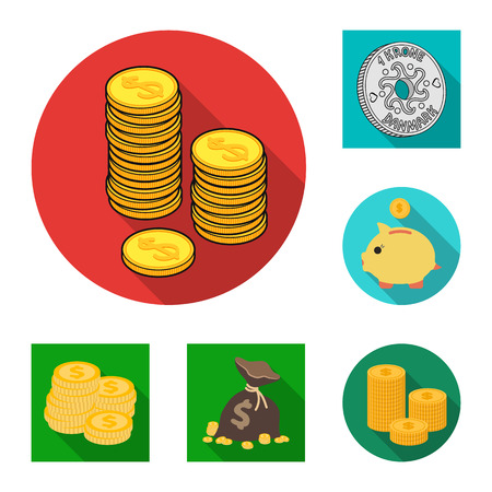 Vector design of coin and treasure. Set of coin and money  stock vector illustration. Illustration