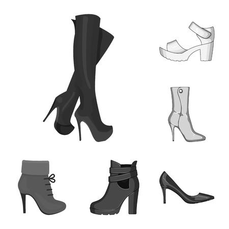 Ilustración de vector de tacón y símbolo alto. Colección de símbolo de stock de tacón y estilete para web. Ilustración de vector
