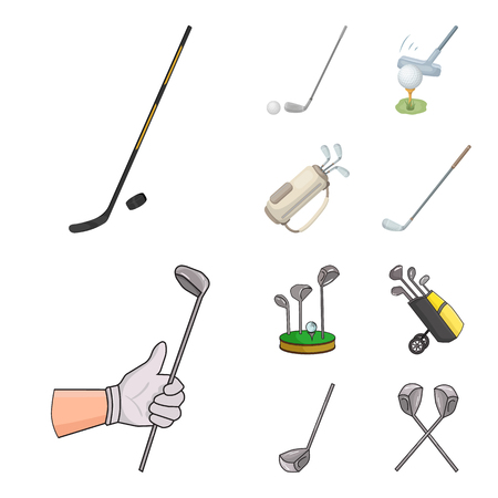 Vector illustration of stick and field icon. Set of stick and club vector icon for stock.