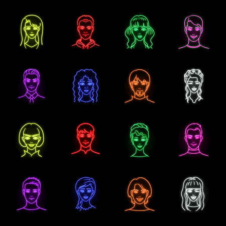 Avatar and face neon icons in set collection for design. A persons appearance vector symbol stock web illustration.