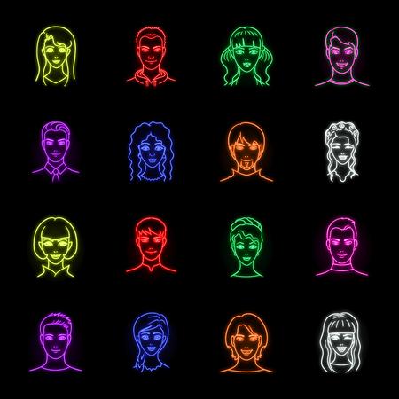 Icone al neon avatar e viso nella raccolta di set per il design. Un'illustrazione di web d'archivio di simbolo di vettore di aspetto di persone.