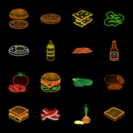 Burger and ingredients neon icons in set collection for design. Burger cooking vector symbol stock web illustration.