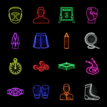 Boxing extreme sports neon icons in set collection for design. Boxer and attributes vector symbol stock web illustration. Stock Illustratie