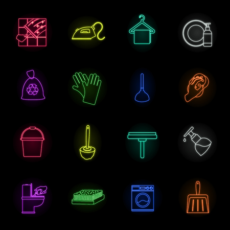 Cleaning and maid neon icons in set collection for design. Equipment for cleaning vector symbol stock web illustration. Illustration
