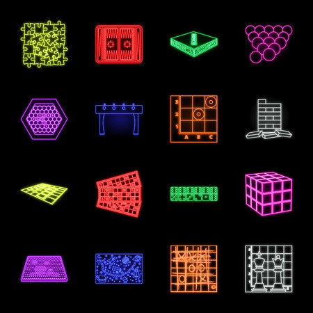 Board game neon icons in set collection for design. Game and entertainment vector symbol stock web illustration.