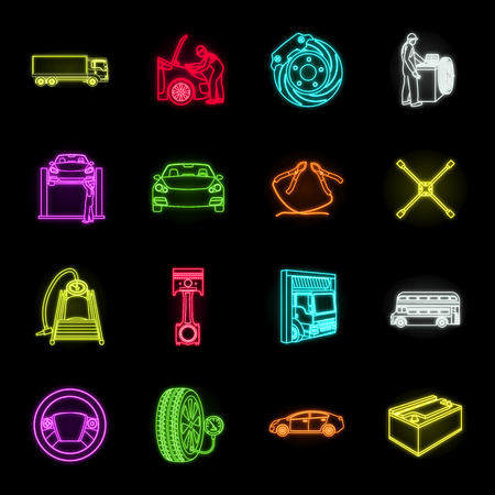 Car, lift, pump and other equipment neon icons in set collection for design. Car maintenance station vector symbol stock illustration web.