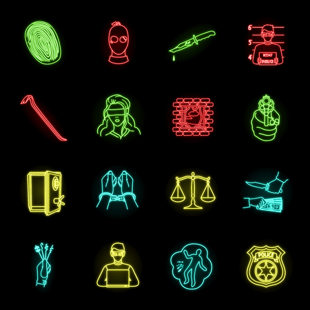 Crime and Punishment neon icons in set collection for design.Criminal vector symbol stock web illustration. Иллюстрация