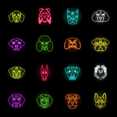 Dog breeds neon icons in set collection for design.Muzzle of a dog vector symbol stock web illustration. Stock Illustratie