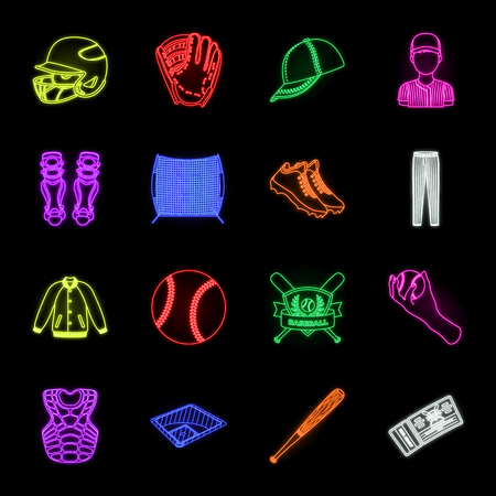 Baseball and attributes neon icons in set collection for design.Baseball player and equipment vector symbol stock web illustration. Illustration