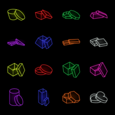 Different boxes neon icons in set collection for design.Packing box vector symbol stock web illustration. Ilustração