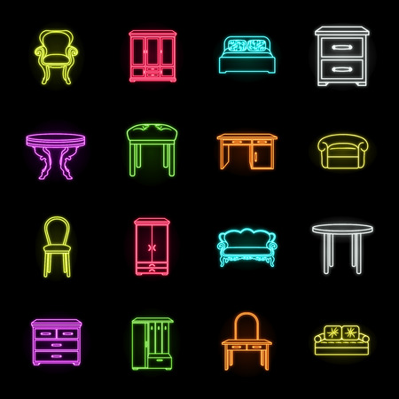 Furniture and interior neon icons in set collection for design.Home furniture vector symbol stock web illustration.