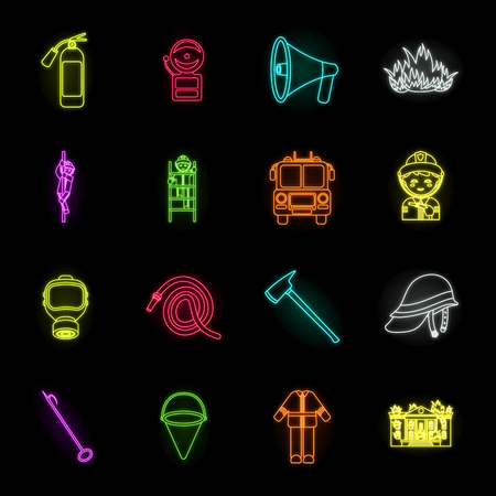 Fire Department neon icons in set collection for design. Firefighters and equipment vector symbol stock web illustration.