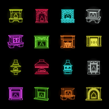 Different kinds of fireplaces neon icons in set collection for design.Fireplaces construction vector symbol stock web illustration.