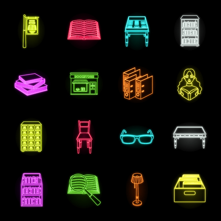 Library and bookstore neon icons in set collection for design. Books and furnishings vector symbol stock web illustration.