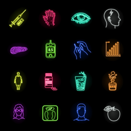Diabetes neon icons in set collection for design. Treatment of diabetes vector symbol stock web illustration.