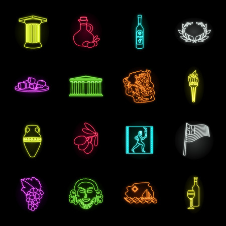 Country Greece neon icons in set collection for design.Greece and landmark vector symbol stock web illustration.