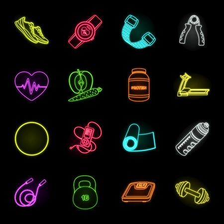 Gym and training neon icons in set collection for design. Gym and equipment vector symbol stock illustration.